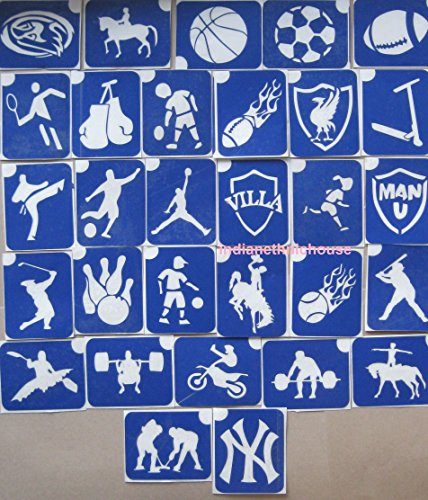 30 X Stencil Packs One Use SPORTS THEMED for Glitter Tattoos  Airbrush  Cakes  Henna - Children Kids Parties Fund Raising Community Events Pta Charity