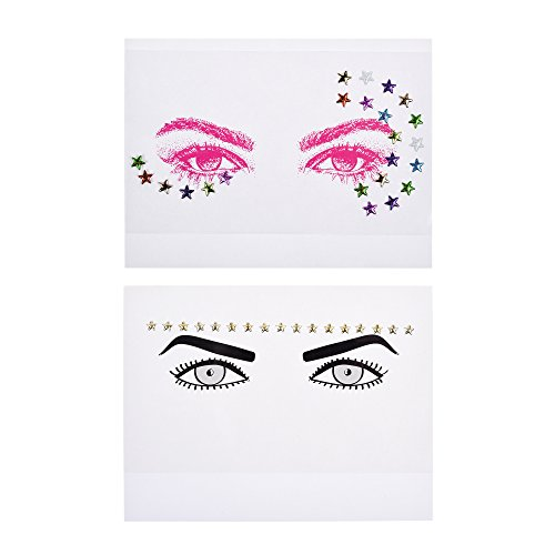 Kloud City Pack of 2 Bindi Rave Glitter Temporary Face Head Stickers Body Tattoo In Random Color