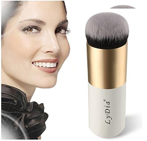 LyDia Professional Large White-Gold Face FoundationBlushLoose PowderBronzer Kabuki ContourBuffing Makeup Brush White-Gold F-020WG by LyDia
