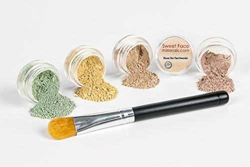 CONCEALER CORRECTOR Kit with BRUSHChoose Your Size and Concealer Shade Mineral Makeup Set Bare Skin Face Foundation Powder 5 gram Sample Size Jars Medium Concealer