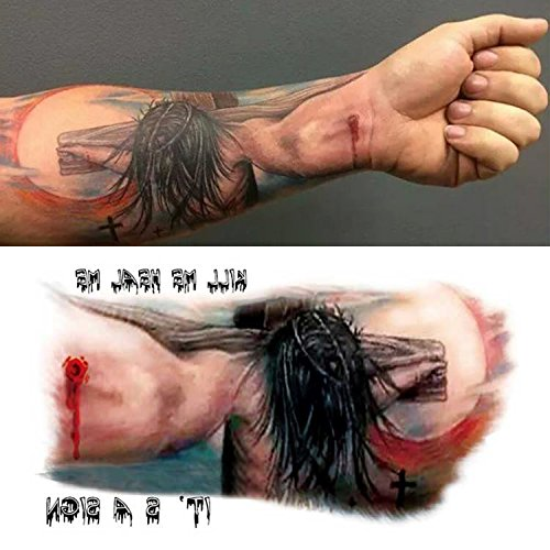 Body Art Temporary Removable Tattoo Stickers Jesus Perspective MC2756 Sticker Tattoo - FashionDancing