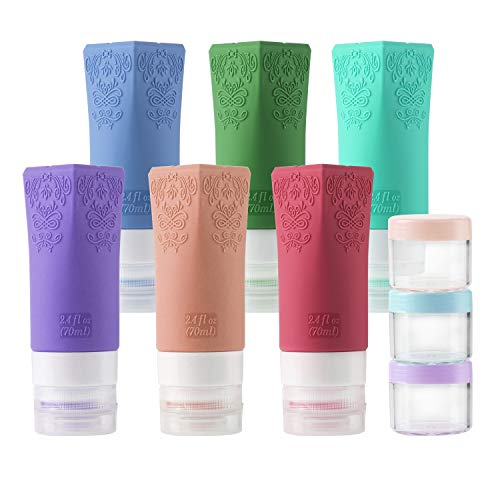 Cosmetic Travel Containers Leakproof Silicone Travel Bottles Set TSA Approved Travel Size Cosmetic Toiletries Containers Accessories Set for Shampoo Conditioner Facial Cleanser Cream