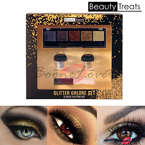 5pc Beauty Treats Glitter Galore Gold Glitter Eyeshadow Eye Shadow Palette Lip Gloss Set