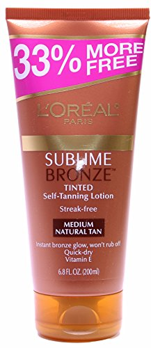 LOreal Paris Sublime Bronze Tinted Self-Tanning Lotion Streak-Free Medium-Natural Tan 68 Ounce