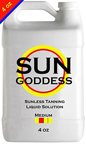 Sun Goddess - MEDIUM - 4 oz - Sunless Self Tanning Liquid Solution for Airbrush Spray Tan HVLP Airbrush Spray Tan Machine - Best Sunless Self Tanning Liquid Spray Tan Solution Mousse Lotion Tanner