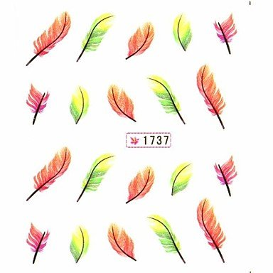 Tint Water Transfer Print Nail Art Stickers Decals Yellow Feather Pattern For False Acrylic Nail Tips Design Nail Art