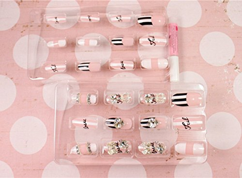 salon patch handmade art Bridal Nail Art 24pcs false nail black and white and pink false nails white diamond butterfly bow and crown fingernail art for Bridal wedding