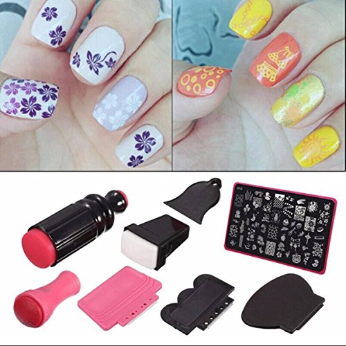 Nail Art StamperDANCINGNAIL Beauty Lady Nail Art Scraper Stamping Manicure Polish Plate Double Ended Stamper Image Tool Kit Set And Nail Plate