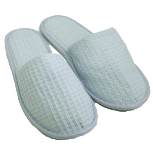 Waffle Closed Toe Adult Slippers Cloth Spa Hotel Unisex Slippers for Women and Men Sky Blue