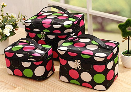 HOYOFO 3 PcsSet Travel Makeup Storage Bags Polka Dots Pattern Cosmetic and Toiletry Organizer Bags3 SizesSet Small Medium LargeColored