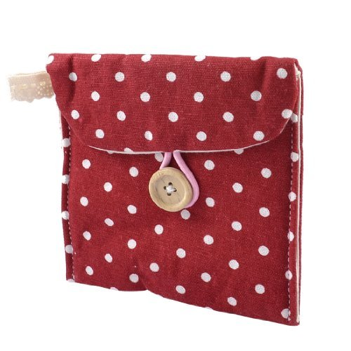 TOOGOOR Women Rectangle Dotted Sanitary Towel Holder Bag Button Pouch Burgundy White