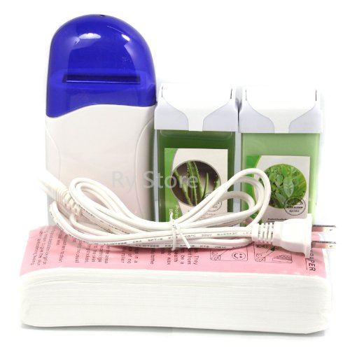4 in 1 Roll on Refillable Depilatory Wax Heater Waxing Hair Removal Skin Care Salon Kit Tools Machine with 100 PCS Paper Strip  Tea Tree Aloe Taste 100g Wax  110v Us Plug