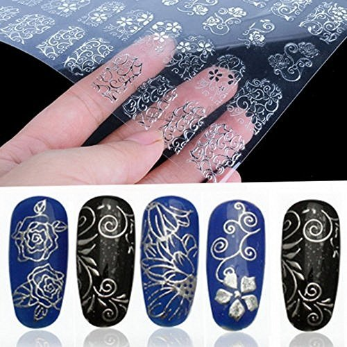 108pcs 3d Silver Flower Nail Art Stickers Decals Stamping