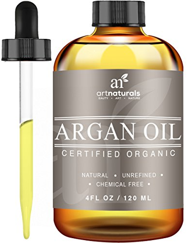 Art Naturals Organic Argan Oil for Hair Face Skin 4 oz - 100 Pure Grade A Triple Extra Virgin Cold Pressed From The kernels of the Moroccan Argan Tree - The Anti Aging Anti Wrinkle Beauty Secret