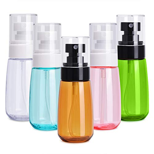 Noverlife 5 Pack 60ml2oz Face Mist Spray Bottles Ultra Fine Mist Hair Spray Bottle Leakproof Water Sprayer Makeup Travel Bottle Containers for Skincare Lotion Atomizer Toiletry Organizer Kit