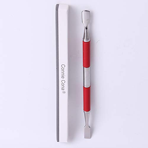 Connie Cona Cuticle Pusher with Spoon Shape Nail Cleaner for Fingernail and Toenail Care Red