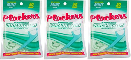 Plackers Hi-Performance Mint Dental Flossers for Clean Healthy Teeth 3 Pack 50 Count
