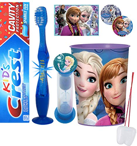 Frozen Elsa Inspired 4pcs Bright Smile Oral Hygiene Bundle Light Up Toothbrush Toothpaste Brushing Timer Mouthwash Rinse Cup Plus Stickers Tooth Saver Necklace