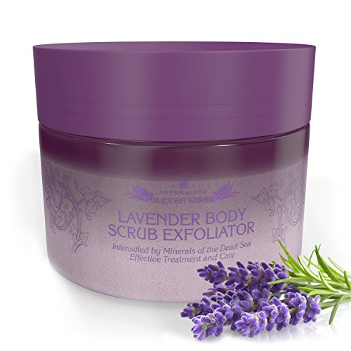 Salt Oil Based Body Scrub Exfoliator Lavender Get a Silky Moisturized Skin Organic Natural Deep Cleanse Treat Acne Blackheads Ingrown Hairs Age spots Eczema Cellulite for Sensitive skin