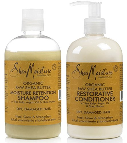 Shea Moisture Raw Shea Butter DUO set Moisture Retention Shampoo  Restorative Conditioner 13 Ounce 1 each