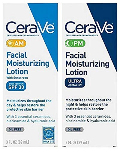 CeraVe Day Night Face Lotion Skin Care Set  Contains CeraVe AM Face Moisturizer with SPF 30 and CeraVe PM Face Moisturizer  Fragrance Free