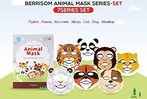 Berrisom Animal Mask Series Set 7 Characters Fun N Moisturizing Facial Mask Pack 25ml x 7pcs