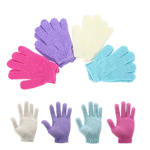 Scheam 4 Pair Exfoliating Shower Bath Glove Scrubber Shower Acne Dead Skin Cell Remover Body Spa Massage Gloves Red Purple Gree Beige