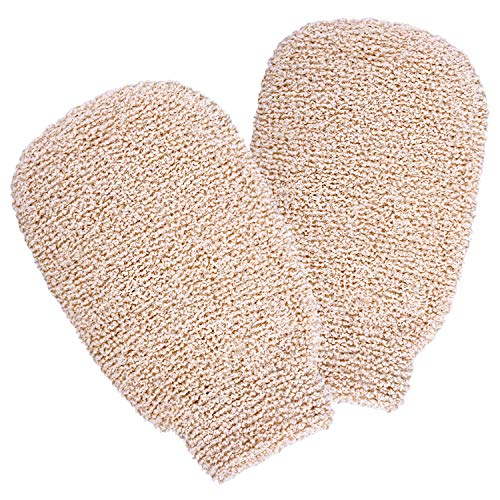 Delicate girl 2 Packs Dual Sided Bath Shower Gloves Mitt Mitten for Exfoliating and Body ScrubberNatural Bamboo Fiber Bath Spone Eco-friendly exfoliating tool for Men and WomenWhite